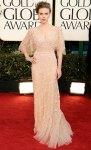 Scarlett Johansson in a blush Elie Saab gown with Van Cleef & Arpels bracelets & Jimmy Choo platforms