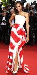 Zoe Saldana in a red & white Armani Prive gown with Nicholas Kirkwood peep toes & Neil Lane jewelry