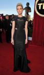 Amber Heard in a black cut-out Zac Posen gown