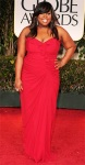 Amber Riley in a ruffle-front Badgley Mischka strapless gown