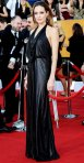 Angelina Jolie in a black draped-front black Jenny Packham gown