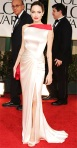 Angelina Jolie in a fitted one-shoulder Atelier Versace gown with Lorraine Schwartz earrings
