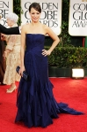 Berenice Bejo in a navy strapless Gucci gown