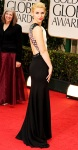 Claire Danes in a black & white J. Mendel column gown