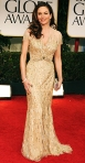 Diane Lane in a gold Reem Acra gown