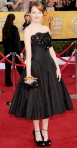 Emma Stone in a black Alexander McQueen 50s-inspired gown