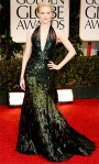 Evan Rachel Wood in a feather-embellished Gucci gown