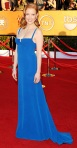 Jessica Chastain in a blue gown with matching earrings