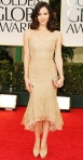 Katharine McPhee in a gold Donna Karan gown
