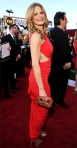 Kyra Sedgwick in a red Emilio Pucci gown