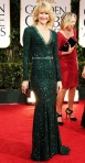 Laura Dern in a gren beaded Andrew Gn gown