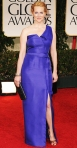 Laura Linney in a one-shoulder blue J. Mendel gown