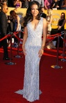 Naya Rivera in a beaded Naeem Khan deep-v gown