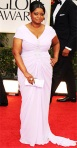 Octavia Spencer in a lavender Tadashi Shoji gown with a Judith Leiber clutch, Irene Neuwirth jewelry, & Louboutins
