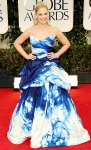 Sarah Michelle Gellar in a blue & white Monique Lhuillier gown with Jimmy Choo stilettos