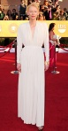 Tilda Swinton in a white draped Greek-inspired gown