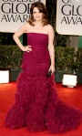 TIna Fey in a tulle Oscar de la Renta gown