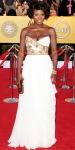 Viola Davis in a white & gold embellished Marchesa gown with Cathy Waterman jewelry & a Judith Leiber clutch