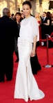 Zoe Saldana in a white studded slit gown