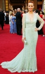 Berenice Bejo in a sheer-sleeved mint Elie Saab gown