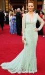 Berenice Bejo in a sheer-sleeved mint Elie Saab gown