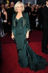 Glenn Close in an emerald green Zac Posen dress with Bulgari diamonds & a Judith Leiber clutch