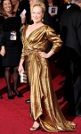 Meryl Streeo in a custom-made eco-friendly gown from Livia Firth's Green Carpet Challenge by Lanvin