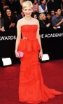 Michelle Williams in an organza & silk Louis Vuitton peplum waisted gown