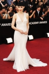 Rooney Mara in a white plunging Givenchy gown