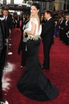 Sandra Bullock in a black & white embellished Marchesa gown wth Casadei pumps