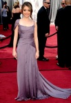 Sarah Hyland in a flowing lavender Alberta Ferretti gown with Casadei pumps & Neil Lane chandelier earrings