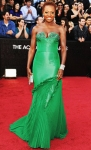 Viola Davis in a green Vera Wang strapless gown with embroidered neckline