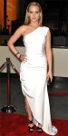 Jennifer Lawrence in a white one-shoulder Prabal Gurung gown with leather sandals.