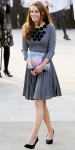 Catherine Middleton in a pleated Orla Kiely pleated dress with a floral applique neckline
