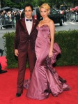Amber Heard in a pink structured Zac Posen gown with Zac Posen