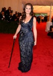 Brooke Shields in a one shoulder printed gown