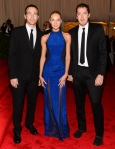 Candice Swanepoel in a blue Rag & Bone gown with Marcus Wainwright & David Neville