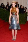 Carey Mulligan in a silver & gold Prada dress