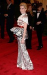 Elizabeth Banks in a printed peplum Mary Katrantzou dress