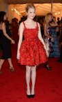 Emma Stone in a red Lanvin babydoll dress