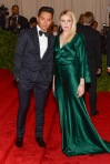 Greta Gerwig in a forest green Prabal Gurung gown with Prabal Gurung