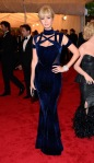 Ivanka Trump in a blue velvet printed gown