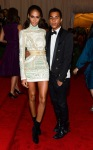 Joan Smalls in an embellished Balmain dress with Olivier Rousteing
