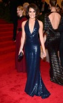 Lea Michele in a navy sparkling plunging neck gown