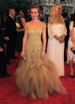 Leighton Meester in a gold Marchesa dress