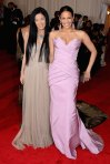 Paula Patteon in a pink strapless Vera Wang gown with Vera Wang