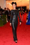Rihanna in a black leather Tom Ford column gown