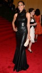 Rosario Dawson in a black leather Calvin Klein gown