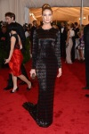 Rosie Huntington-Whiteley in a striped sparking Burberry gown
