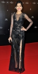 Freida Pinto in a black Versace gown